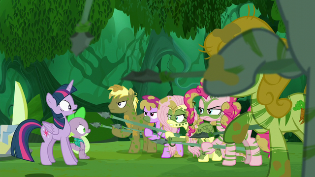 File:Fluttershy points her spear closer to Twilight S5E26.png