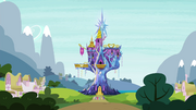 Mane 6 staring at the castle S4E26.png