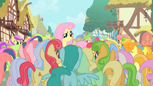 File:Ponies gathering around Fluttershy S01E20.png