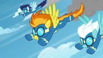 The Wonderbolts flying through the sky S6E7