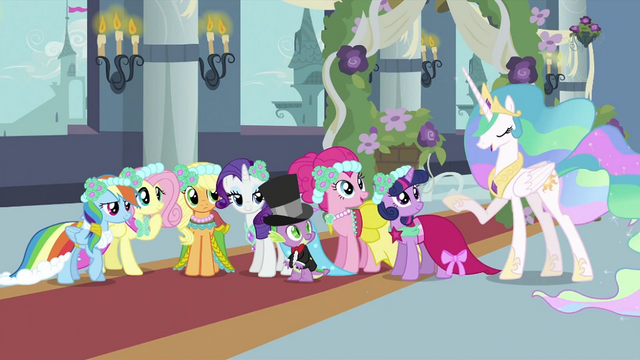 File:Main 6 and Spike looking at Celestia S2E26.png