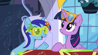 Minuette reminds Twilight of Moon Dancer's party S5E12