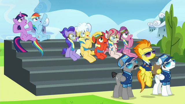 File:Twilight, Rainbow, and trainees cheer for Sky and Vapor S6E24.png