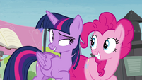 Twilight telling Pinkie to check out the rest of the Exchange S4E22