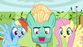 Fluttershy, Zephyr, and Rainbow singing together S6E11.png