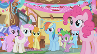 Rainbow Dash tells her about the pranks S1E05