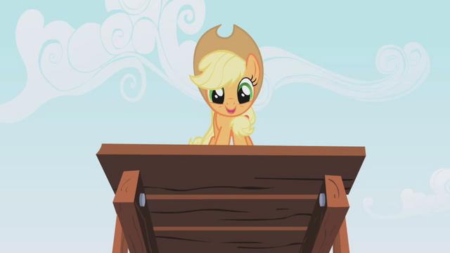 """File:Applejack """"Here I go!"""" S01E04.png"""