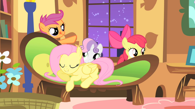 File:CMC sneak past Fluttershy on their way to the forest S1E17.png