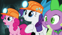 Pinkie, Rarity, and Spike in surprise S7E4