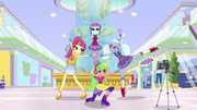 Shadowbolts dancing at the Canterlot Mall EGS1