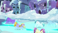 The Crystal Ponies bowing and making the streets glow blue S6E2.png