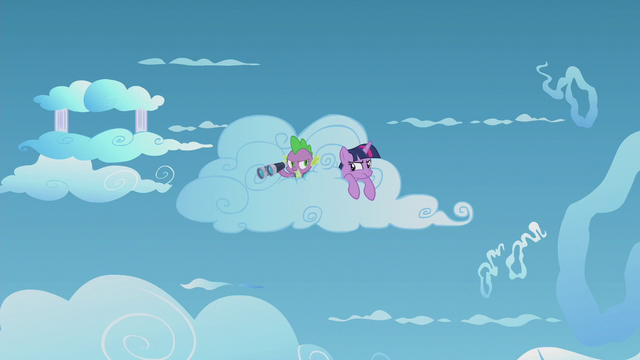 File:Twilight and Spike sneaking around the cloud S5E25.png