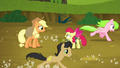 Red Gala and Golden Delicious gallop past AJ and Apple Bloom S5E4.png