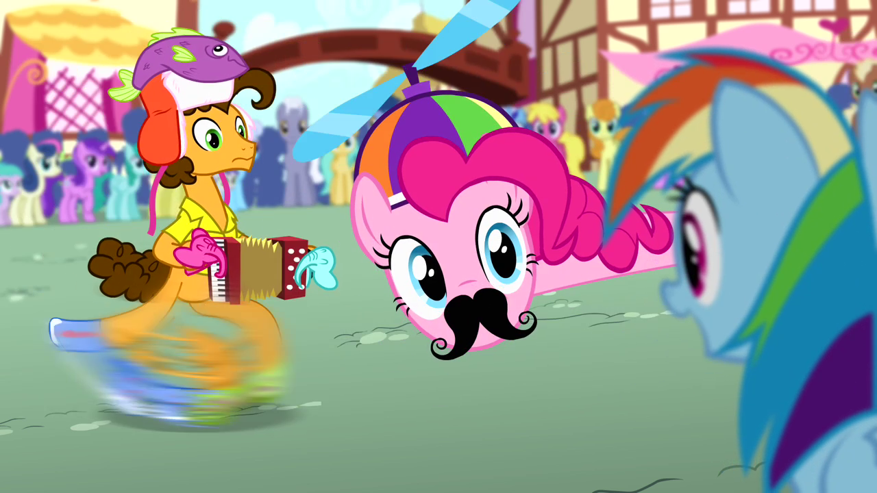 Pinkie with a hat and moustache S4E12.png
