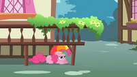 Pinkie Pie hiding under a platform S1E15