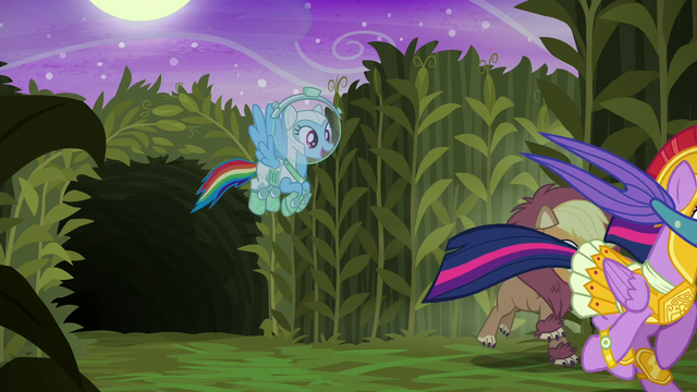 File:Rainbow Dash flies out of the cave S5E21.png