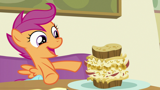 """File:Scootaloo """"I'm eating Rainbow Dash's favorite food"""" S7E7.png"""