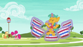 Applejack and Pinkie watch Snails meditate S6E18.png