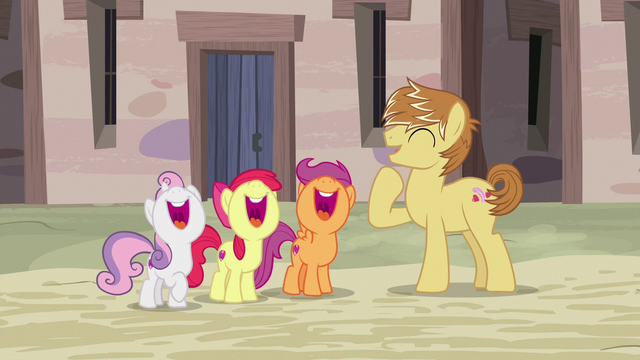 File:Feather Bangs and Crusaders laughing together S7E8.png