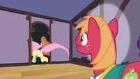 Fluttershy runs out of Sugarcube Corner S4E14