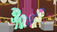 Lyra laughing and Bon Bon surprised S5E9
