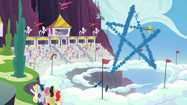 File:The Wonderbolts make star-shaped smoke trail S7E7.png