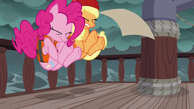 File:Pinkie Pie and Applejack stumble backward S6E22.png