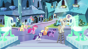 Main six walking through crystal city S03E12.png
