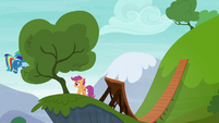 Rainbow Dash flying behind a tree S6E7