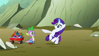 Rarity's horn dragging her S1E19