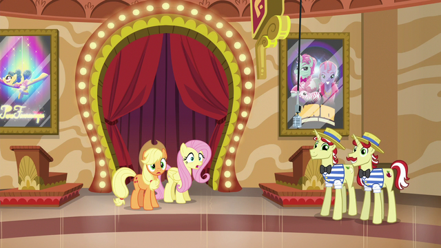 File:Applejack and Fluttershy hear incoming ponies S6E20.png