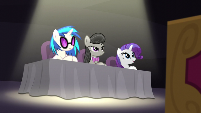 File:DJ Pon-3, Octavia, and Rarity at judges' table S5E4.png