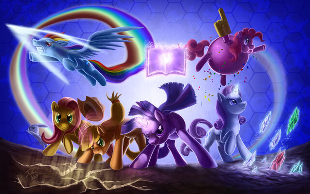 File:FANMADE Mane 6 fighting is magic by tsitra360.jpg