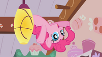 Pinkie Pie behind a ceiling lamp in Cupcakes song S1E12