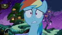 Rainbow looking terrified near Fluttershy's cottage S6E15