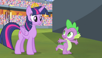 Spike asking Twilight to turn back time S4E24