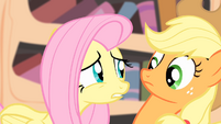 Fluttershy looks at Applejack S4E07