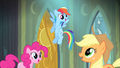 Pinkie Pie, Dash, and Applejack excited S4E06.png