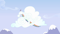 Rainbow Dash flying around cloud S3E7