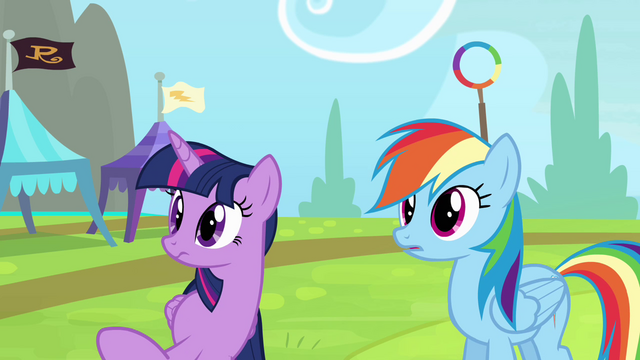 File:Rainbow and Twilight hears cheerleaders S4E10.png