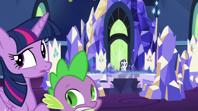File:Twilight, Rarity, and Spike hear something S5E16.png