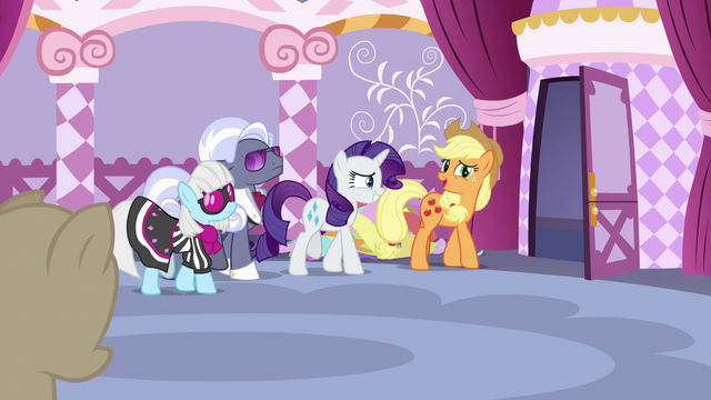 File:Applejack and other judges leave the sewing room S7E9.png