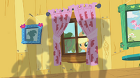 Applejack peering through window S01E18