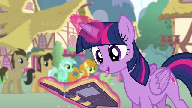 File:Twilight levitating the goof-off rule book S4E12.png