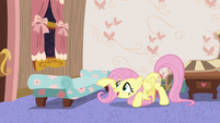 Fluttershy poking at Discord's chaise lounge S7E12