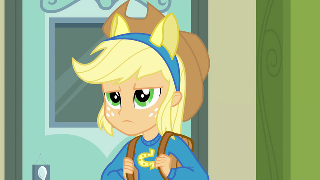File:Applejack frowning with pony ears EG.png