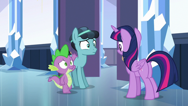 "File:Spike introducing Thorax as ""Crystal Hoof"" S6E16.png"