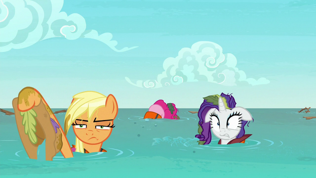 File:AJ, Pinkie, and Rarity in the middle of the ocean S6E22.png