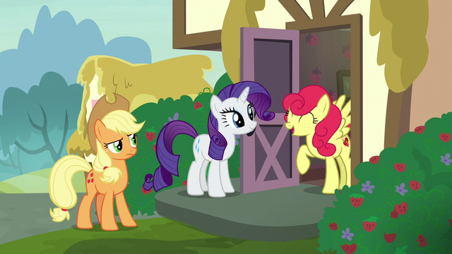 File:Strawberry Sunrise happily greeting Rarity S7E9.png