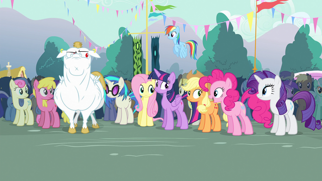 File:Everyone looking at Pinkie Pie S4E13.png